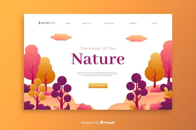 Modèle de page de destination nature dégradée Vecteur gratuit