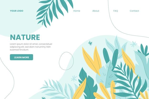 Modèle de page de destination nature dessiné à la main Vecteur gratuit