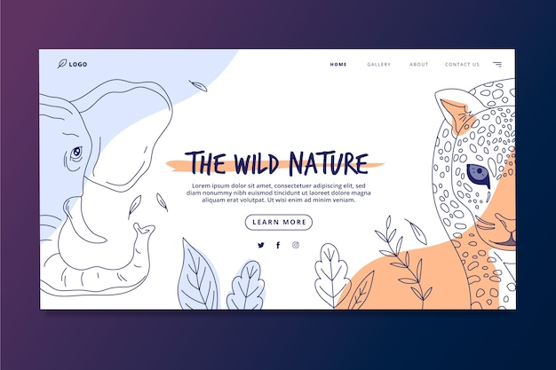 Modèle de page de destination nature dessinée à la main Vecteur gratuit