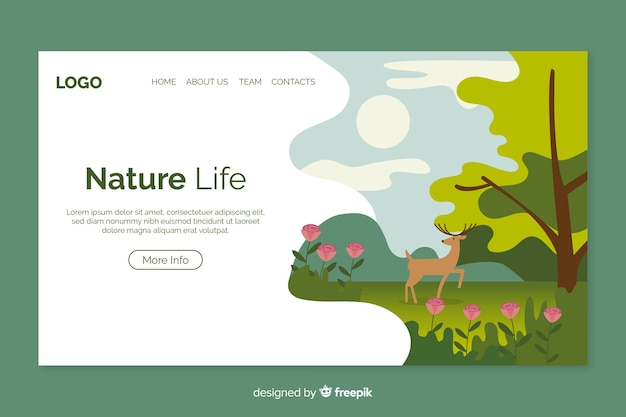 Modèle de page de destination nature plate Vecteur gratuit