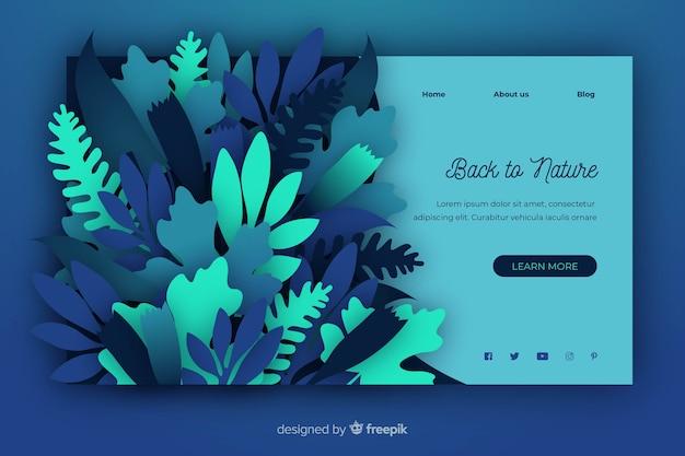 Modèle de page de destination nature en style papier Vecteur gratuit