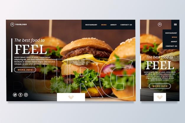 Modèle de page de destination de nourriture Vecteur gratuit