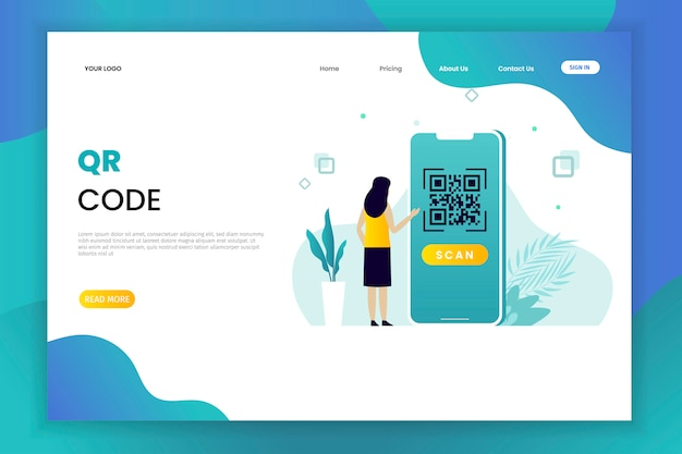 Modèle De Page De Destination De Numérisation De Code Qr Vecteur Premium
