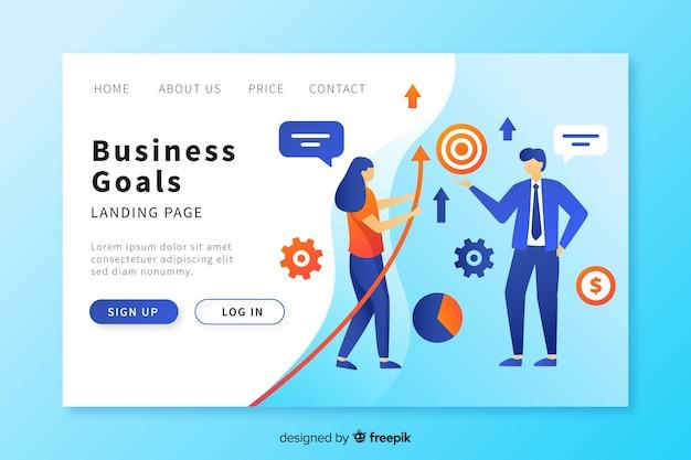 Modèle de page de destination d'objectifs commerciaux Vecteur gratuit