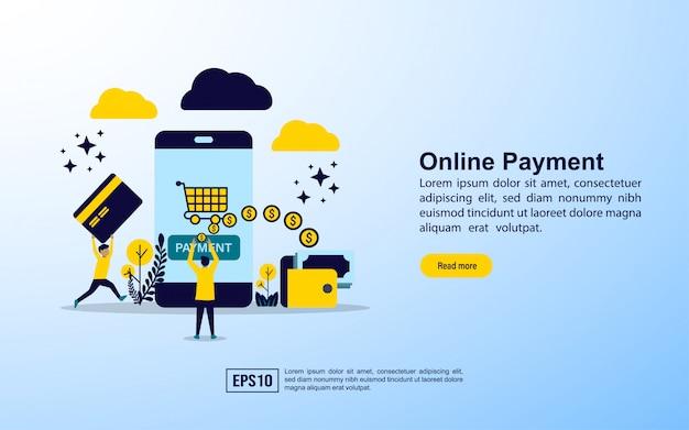 Modèle de page de destination. paiement en ligne Vecteur Premium