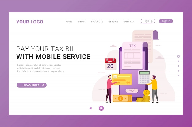 Modèle De Page De Destination Paiement Des Taxes En Ligne Vecteur Premium