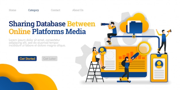Modèle de page de destination. partage de la base de données entre plateformes de médias en ligne. accéder à des fichiers à partir de nombreuses plates-formes Vecteur Premium