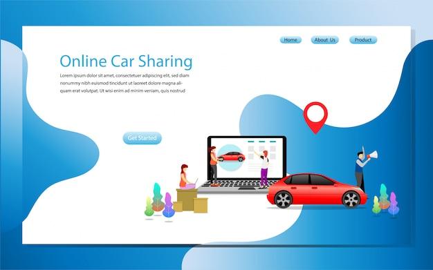 Modèle de page de destination partage de voiture en ligne Vecteur Premium