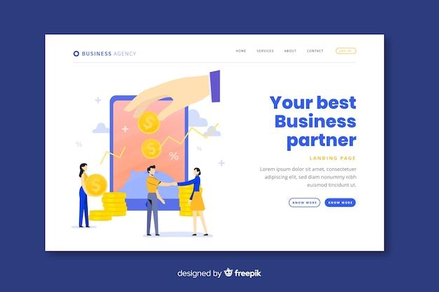 Modèle de page de destination de partenariat commercial Vecteur gratuit