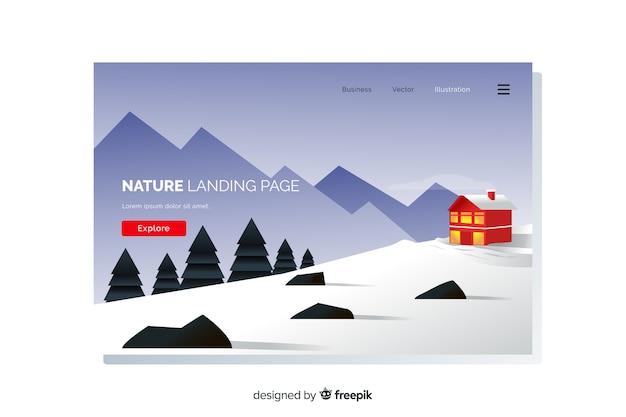 Modèle de page de destination paysage plat Vecteur gratuit
