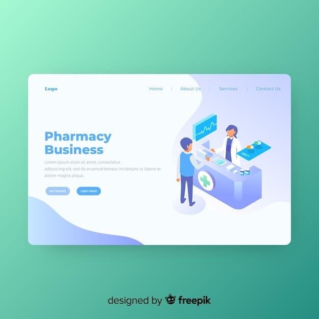 Modèle de page de destination de pharmacie en ligne Vecteur gratuit