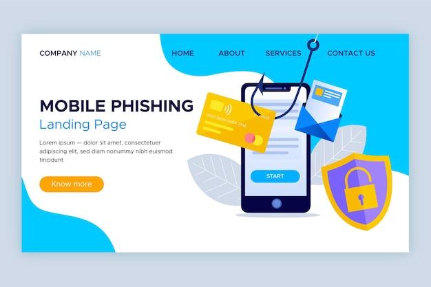 Modèle De Page De Destination De Phishing Mobile Vecteur gratuit