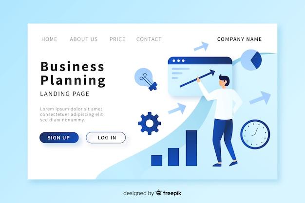 Modèle de page de destination de planification d'entreprise Vecteur gratuit
