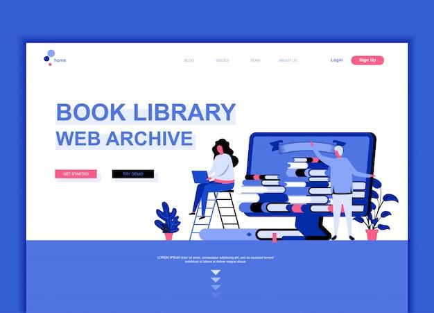 Modèle de page de destination plate de la bibliothèque de livres Vecteur Premium