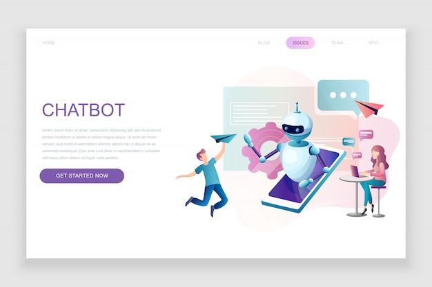 Modèle de page de destination plate de chat bot et marketing Vecteur Premium