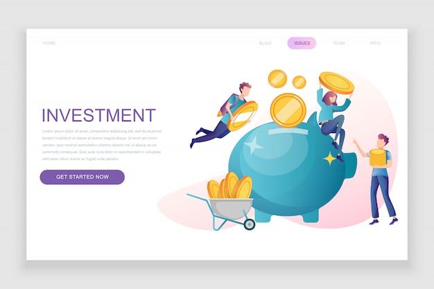 Modèle de page de destination plate de l'investissement des entreprises Vecteur Premium