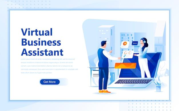 Modèle de page de destination plate pour assistant commercial virtuel de page d'accueil Vecteur Premium