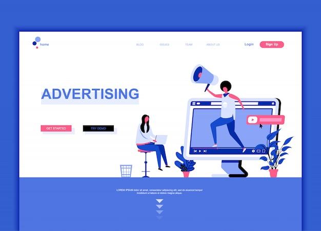 Modèle de page de destination plate de la publicité Vecteur Premium