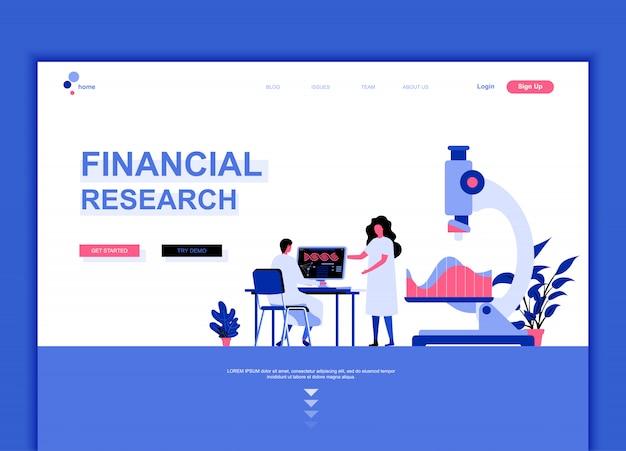 Modèle de page de destination plate de la recherche financière Vecteur Premium