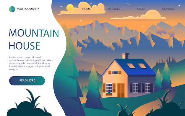 Modèle de page de destination plate de la station de montagne Vecteur Premium