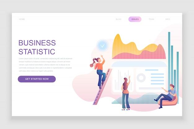 Modèle de page de destination plate de la statistique des entreprises Vecteur Premium