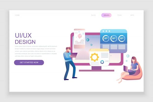 Modèle de page de destination plate de ux, ui design Vecteur Premium