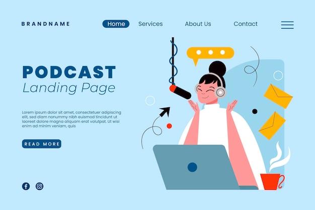 Modèle De Page De Destination De Podcast Avec Illustration Vecteur gratuit