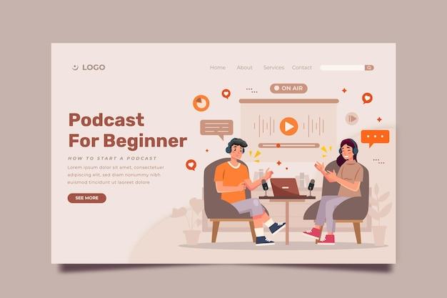 Modèle De Page De Destination De Podcast Vecteur gratuit