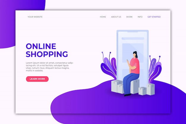 Modèle de page de destination pour les achats en ligne Vecteur Premium