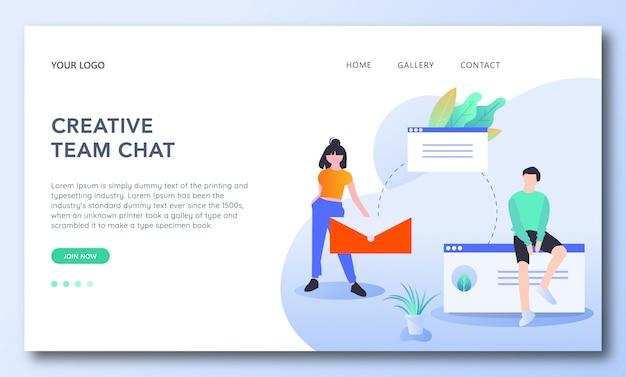 Modèle de page de destination pour le chat de l'équipe créative Vecteur Premium
