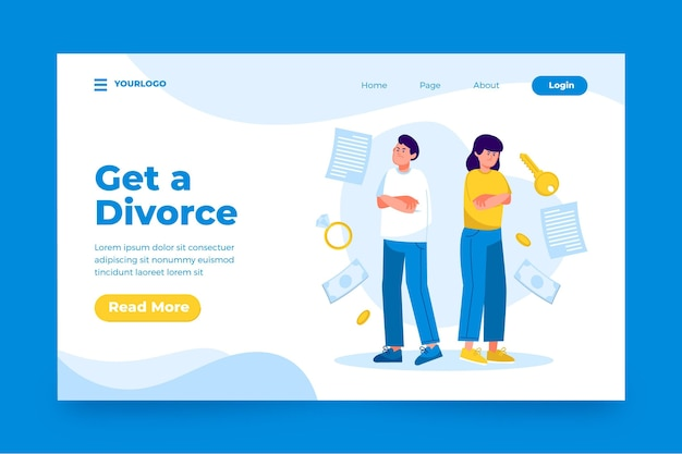 Modèle De Page De Destination Pour Le Concept De Divorce Vecteur gratuit