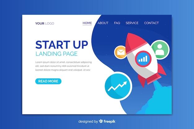 Modèle de page de destination pour le démarrage d'une entreprise Vecteur gratuit