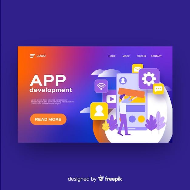 Modèle de page de destination pour le développement d'applications Vecteur gratuit