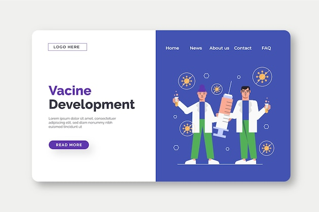 Modèle De Page De Destination Pour Le Développement De Vaccins Vecteur gratuit
