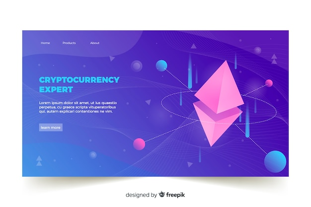 Modèle de page de destination pour échange de crypto-monnaie Vecteur gratuit
