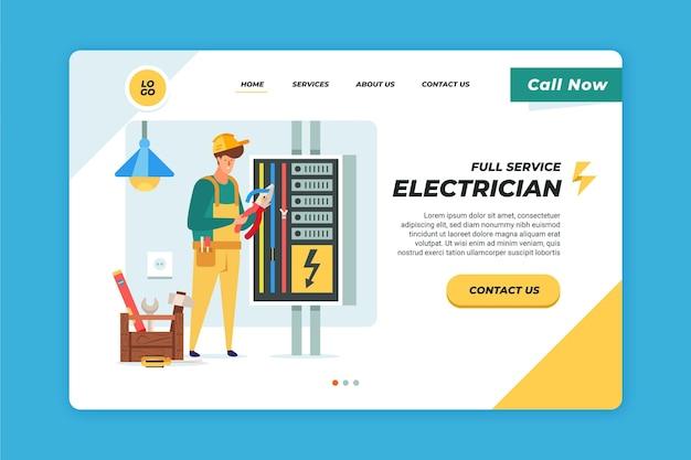 Modèle De Page De Destination Pour électricien Vecteur Premium