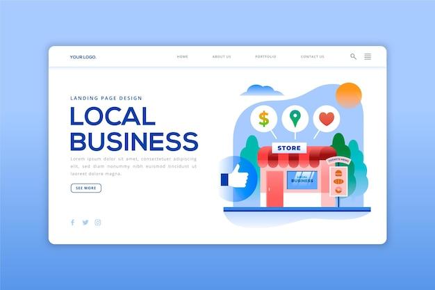 Modèle De Page De Destination Pour Les Entreprises Locales Vecteur gratuit