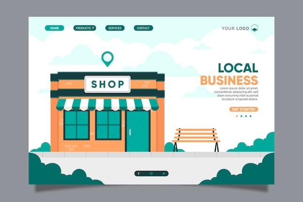 Modèle De Page De Destination Pour Les Entreprises Locales Vecteur Premium