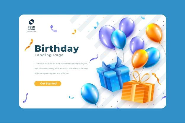 Modèle De Page De Destination Pour La Fête D'anniversaire Vecteur gratuit