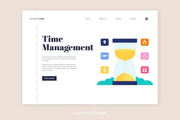 Modèle de page de destination pour la gestion du temps Vecteur gratuit