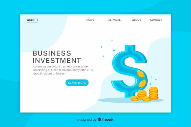 Modèle de page de destination pour les investissements commerciaux Vecteur gratuit