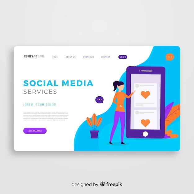 Modèle de page de destination pour les médias sociaux Vecteur gratuit