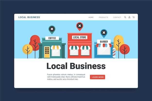 Modèle De Page De Destination Pour Petites Entreprises Vecteur Premium