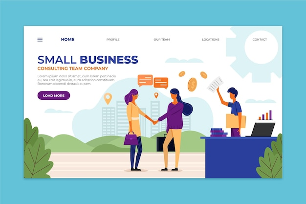 Modèle De Page De Destination Pour Petites Entreprises Vecteur gratuit