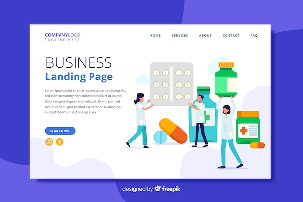Modèle de page de destination pour une pharmacie plate Vecteur gratuit