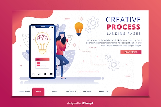 Modèle de page de destination pour le processus de créativité Vecteur gratuit