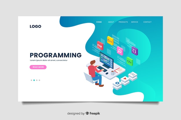 Modèle De Page De Destination Pour La Programmation Isométrique Vecteur Premium