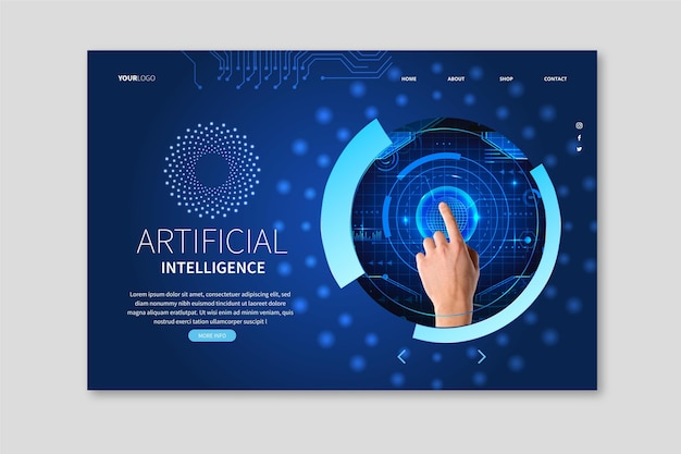 Modèle De Page De Destination Pour La Science De L'intelligence Artificielle Vecteur Premium