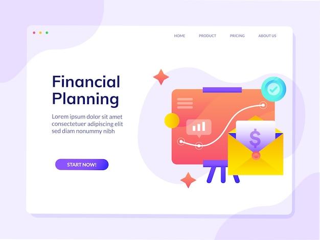 Modèle de page de destination pour site web de planification financière Vecteur Premium