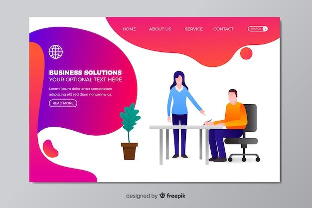 Modèle de page de destination pour les solutions métier Vecteur gratuit